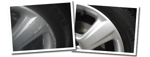 Alloy Wheel Refurbishment - before and after